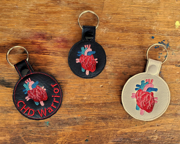 Anatomical Heart Keychain - with or without custom text - two sizes