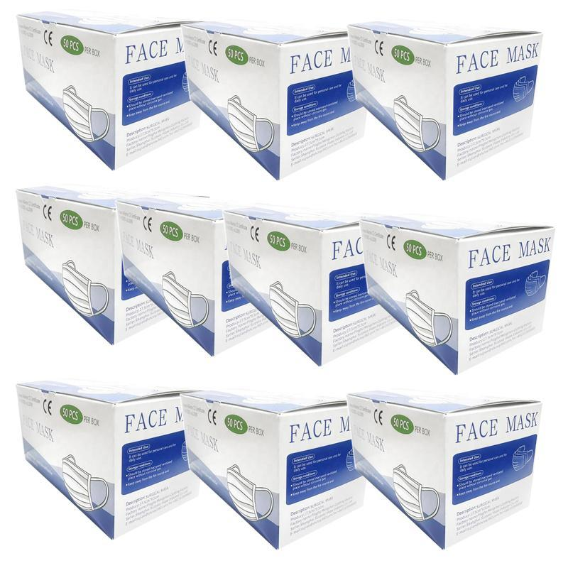 3 Ply Protection Pleated Ear-Loop Procedure - 500 Face Masks - 10 Box - BriteSources