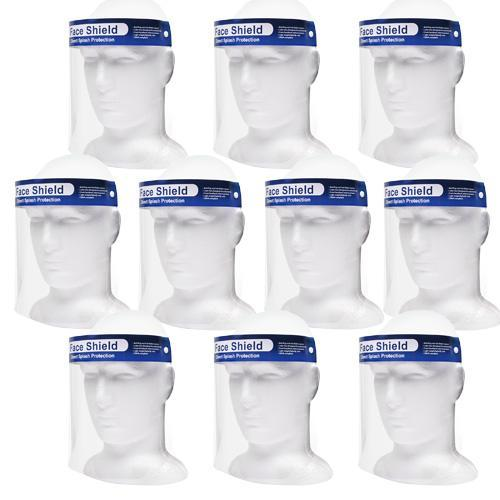 Full Length - Clear Protective - Face Mask Shield - 10 Pack - DentalSupplyHouston.com