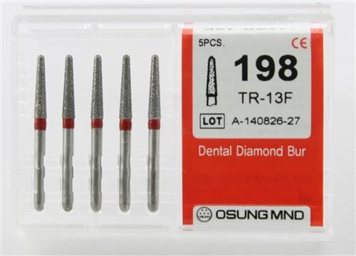 Diamond Burs, Taper Round Shape, Fine Grit Multi-Use 198Tr-13F - DentalSupplyHouston.com