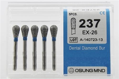 Diamond Burs, Pear Shape, Standard Grit Multi-Use 237Ex-26 - BriteSources