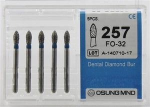 Diamond Burs, Flame Ogival Shape, Standard Grit Multi-Use 257Fo-32 - BriteSources