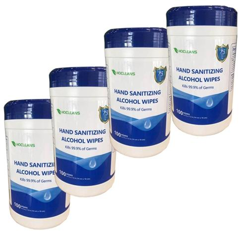 DISINFECTING WIPES ROLL 75% ALCOHOL 100 PCS / CANISTER - PACK OF 4 CANS - BriteSources