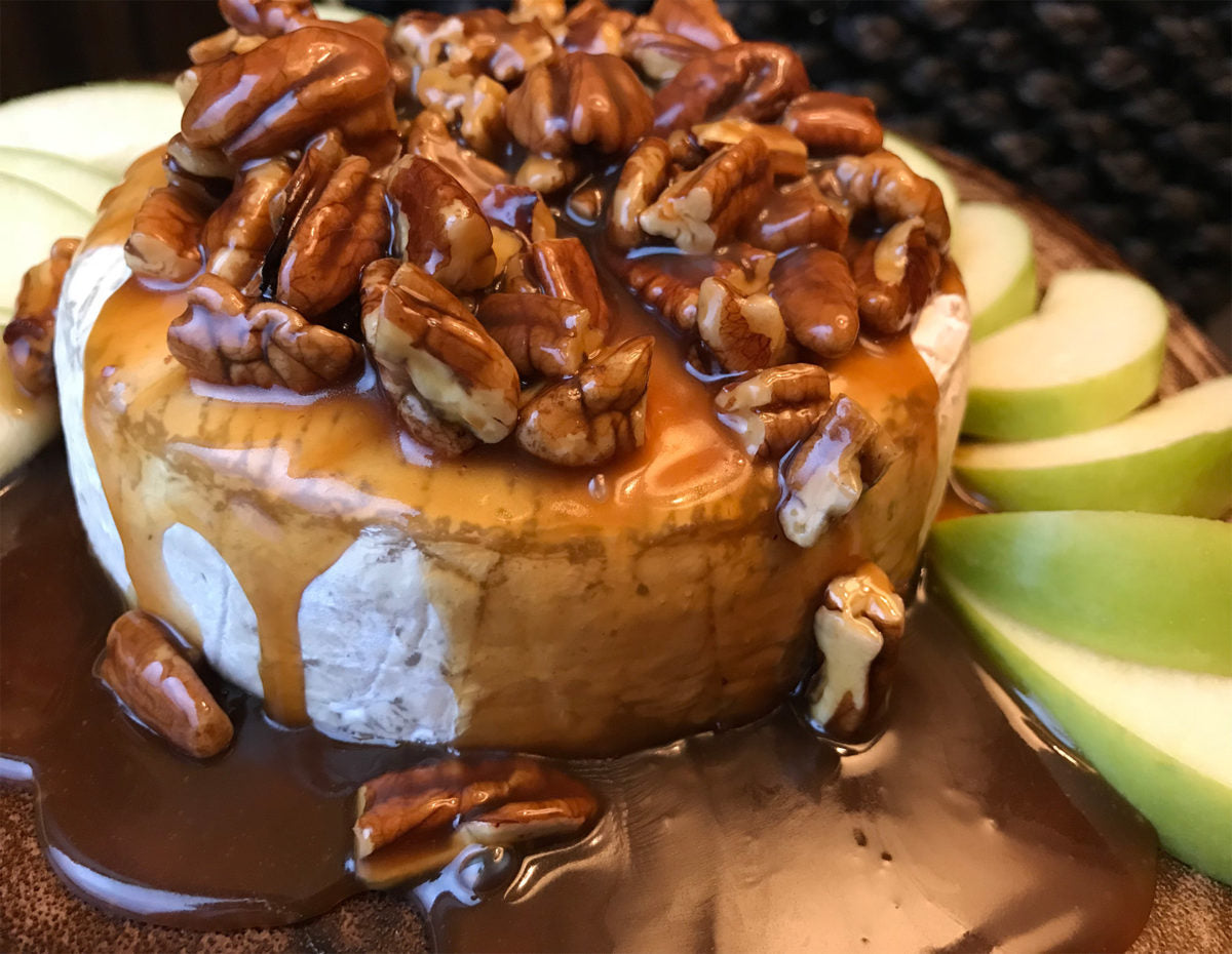 Baked Brie with Bourbon Caramel and Pecans
