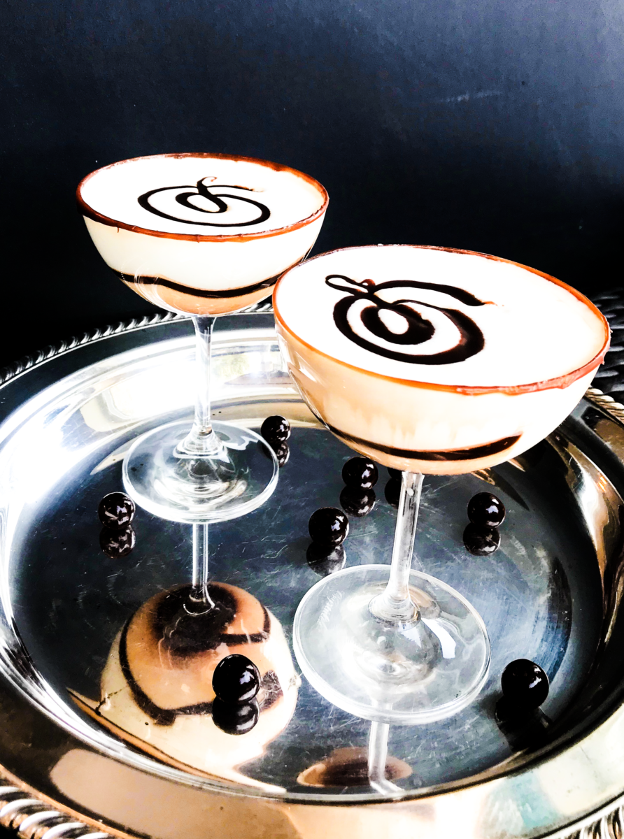 White & Dark Chocolate Caramel Martini