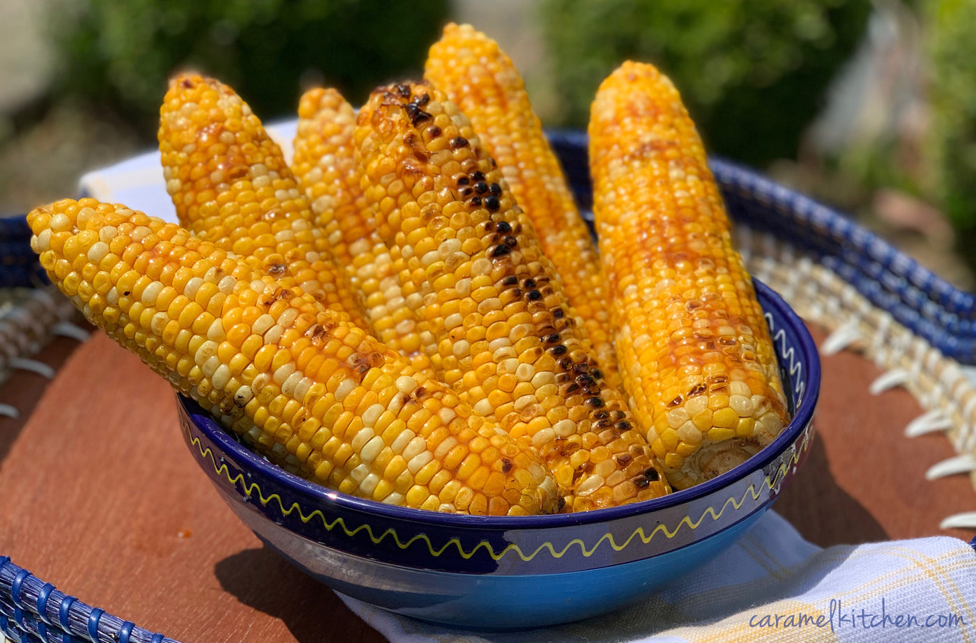 Grilled Corn with Chipotle & Bourbon Caramel Sauce