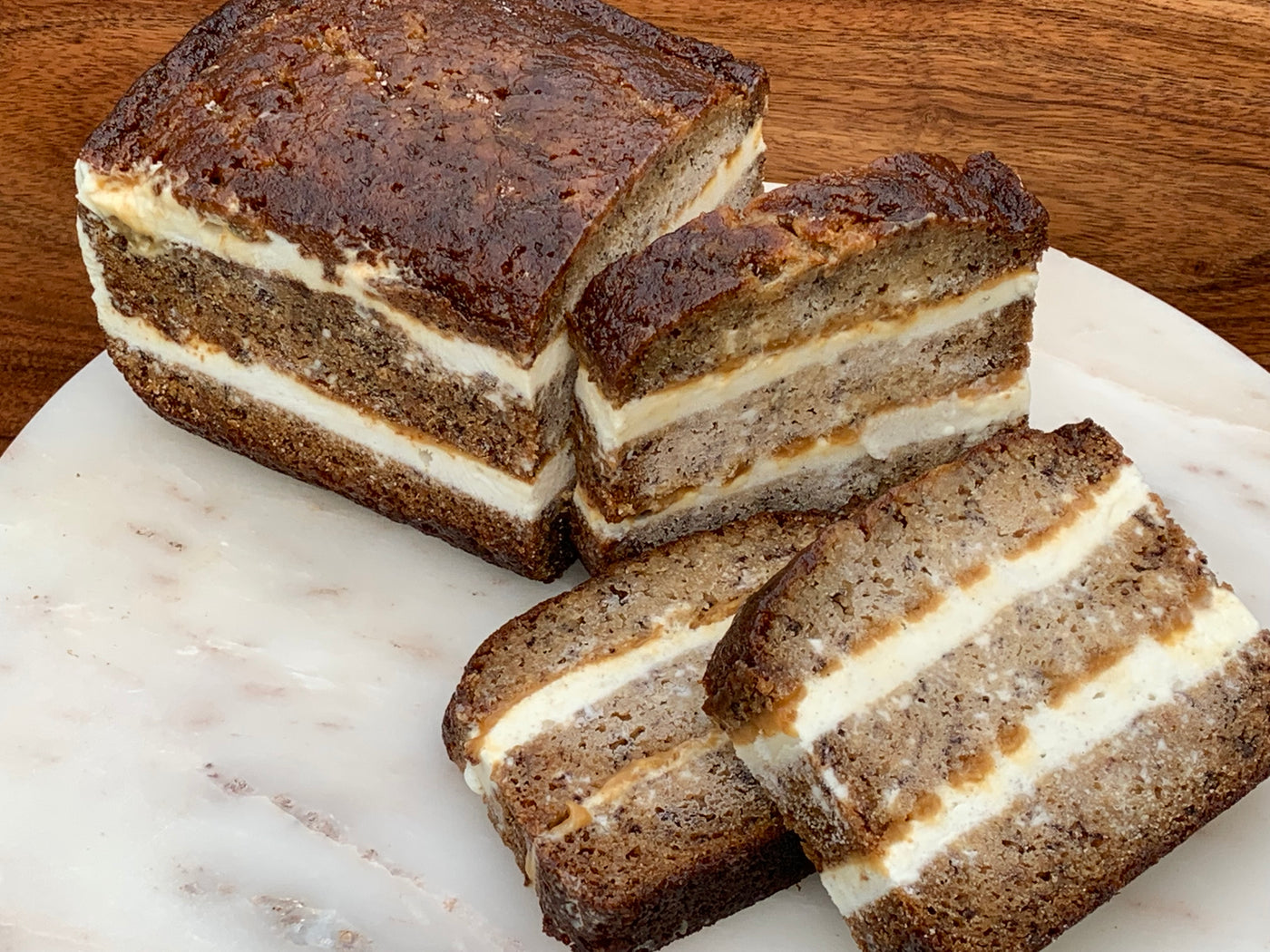 Banana Bread Bourbon Caramel Ice Cream Cake