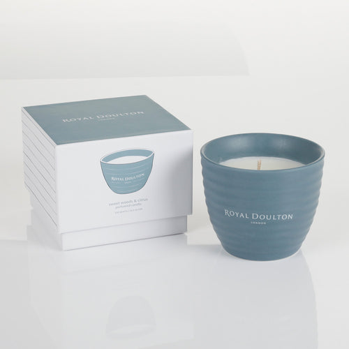 Royal Doulton Ripple Sweet Woods & Citrus Ceramic Candle 120g
