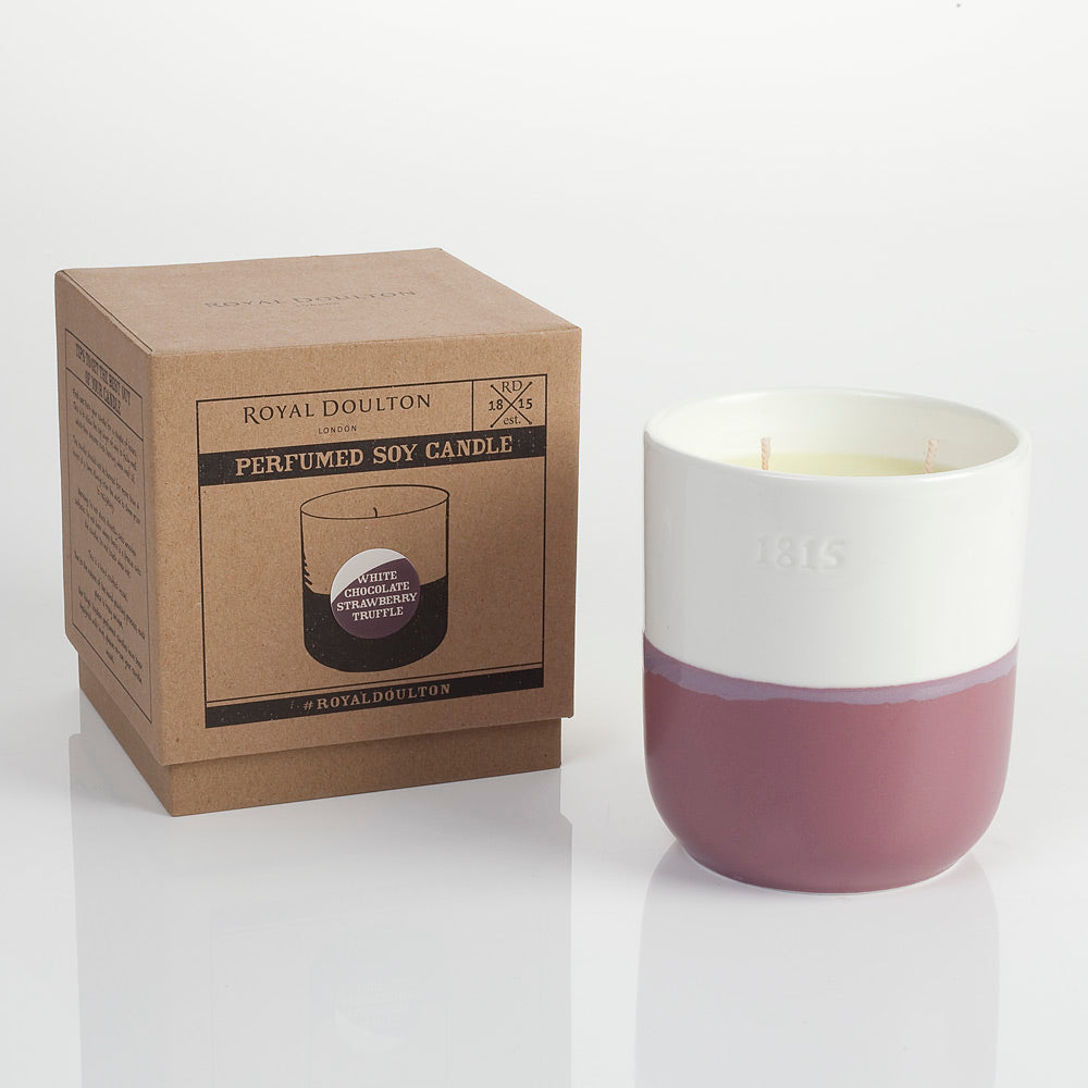 Royal Doulton Coffee Studio White Chocolate & Strawberry Truffle Ceramic Candle 450g