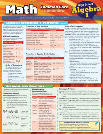 Math Common Core State Standards Student Guide Algebra 1