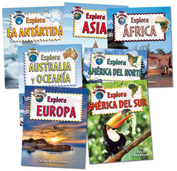 Explore the Continents Spanish Book Set of 7 books