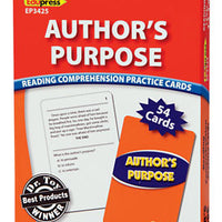 Author's Purpose Reading Comprehension Practice Cards 3.5-5.0