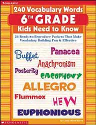 240 Vocabulary Word Kids Grade 6