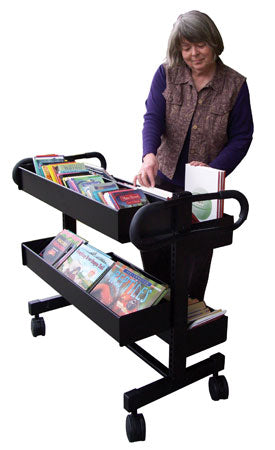 4-Bin Adjustable Book Truck - Black