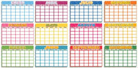 12 Months Blank Calendars Spanish Bulletin Board