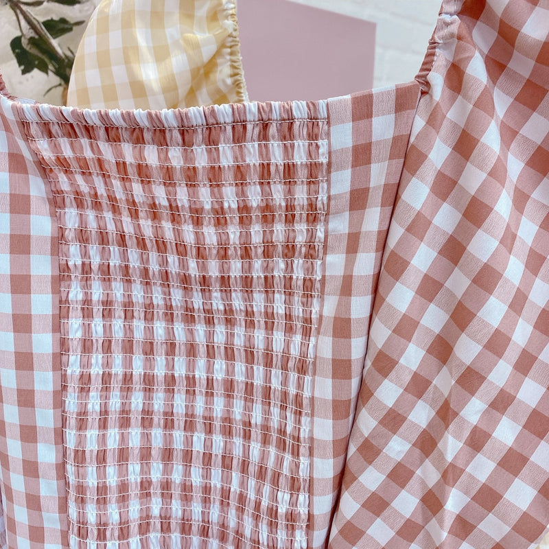 Gingham Puff Blouse - MAISON MARBLE