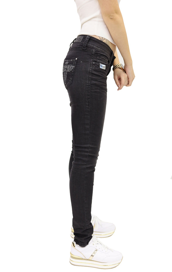 Blue Monkey Women Luna 3813 Black Denim Skinny Jeans