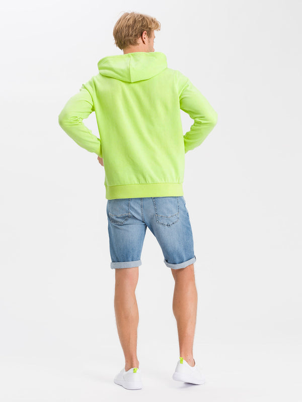 Cross Herren Neon Yellow Hoodie Sweatshirt