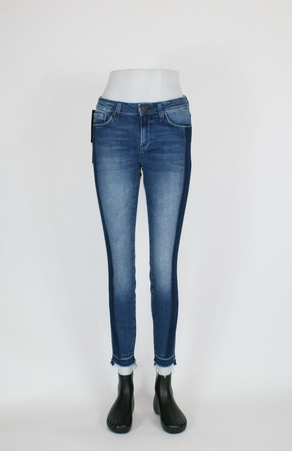 Mavi Damen Adriana Ankle Indigo Blocking Denim Super Skinny Jeans