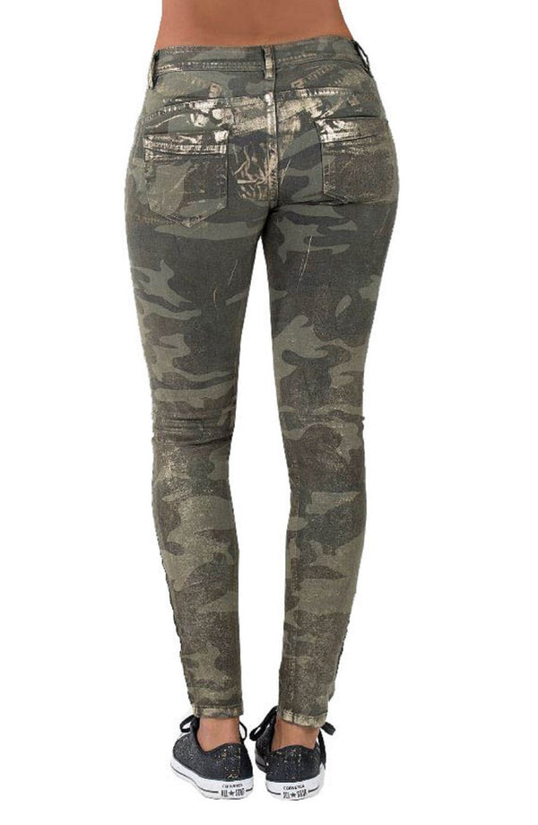Blue Monkey Women Lilly 1336 Camouflage Army-Look Skinny Jeans
