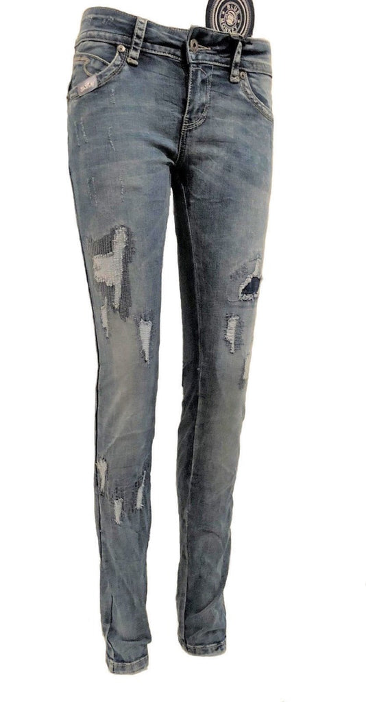 Blue Monkey Women Laura 1827 Blue Denim Skinny Jeans
