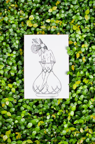 Daffodil Flower Girl Drawing Print