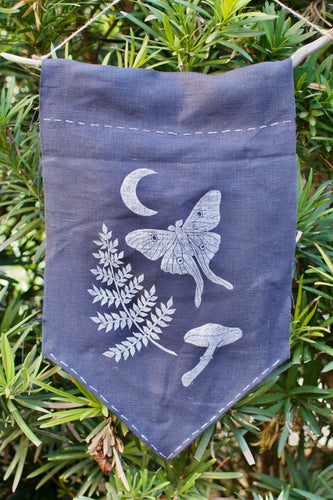 Navy Linocut Printed Banner: Midnight Forest