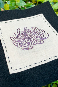 Embroidered Chrysanthemum, Linen Mounted on Felt