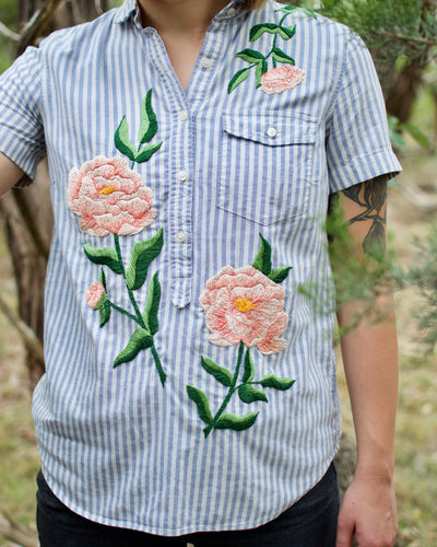 Peony Blue Striped Shirt