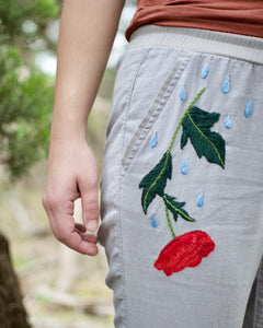 Fire and Water, Poppy and Snake, Linen Pants