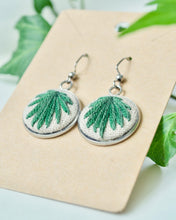 Load image into Gallery viewer, Embroidered Dark Green Palm Earrings