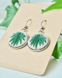 Embroidered Dark Green Palm Earrings