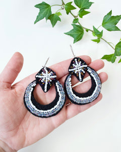 Beaded Moon and Star Earrings