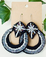 Load image into Gallery viewer, Beaded Moon and Star Earrings