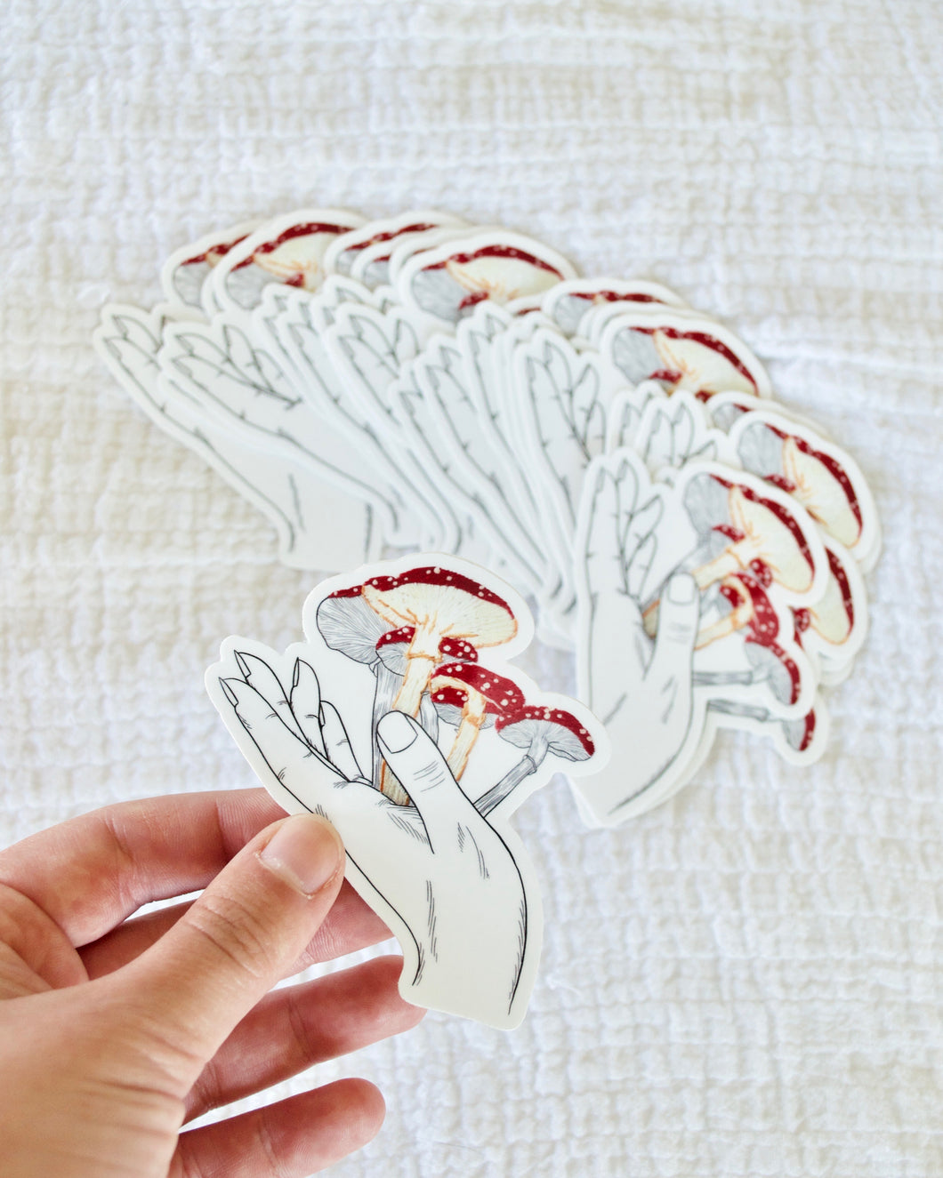 Embroidered Mushroom Print Sticker
