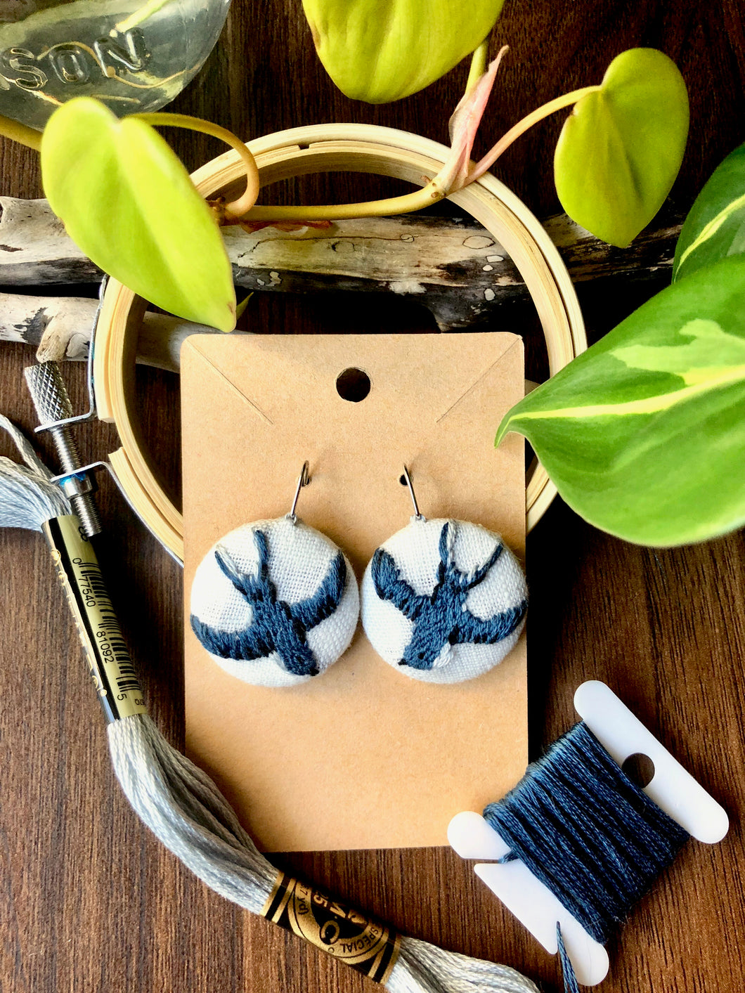 Embroidered Swallow Earrings