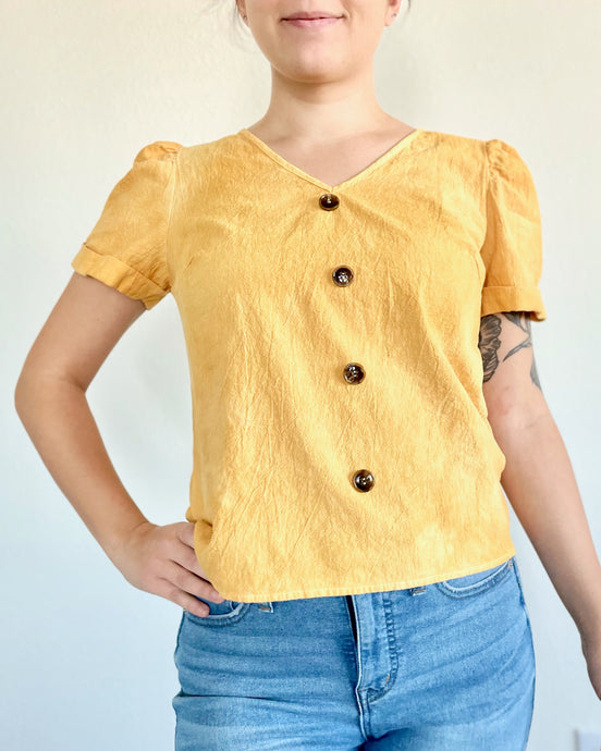Plant Dyed Women's Short Sleeved Shirt with Button Details