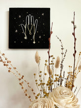 Load image into Gallery viewer, Embroidered Hand with Stars and Moon Charms