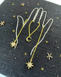 Embroidered Hand with Stars and Moon Charms