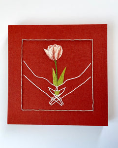 Embroidered Hands with Tulip