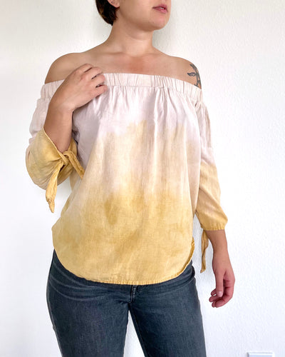 Raspberry and Yellow Onion Skin Dyed Off-the-Shoulder Top - XS
