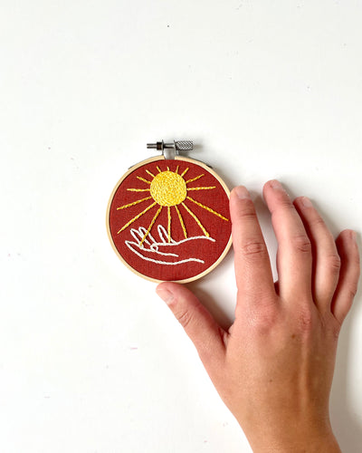Sun and Hand Mini Embroidery Hoop