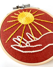 Load image into Gallery viewer, Sun and Hand Mini Embroidery Hoop