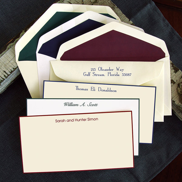 Custom Hand Bordered Cards, Traditional Slender Stationery