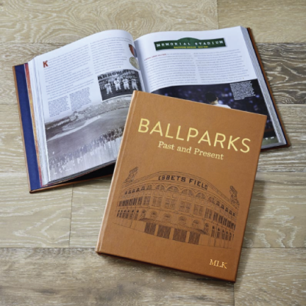 Ballparks Past & Present Leather Book – with Personalization