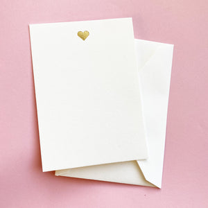 Gold Heart Notecards - Set of 8