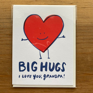 Big Hugs I Love You Grandpa Father's Day Card