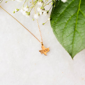 Texas Brass Stamped Necklace
