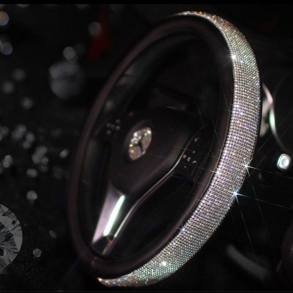 Bling steering wheel universal  leather anti-slip handle
