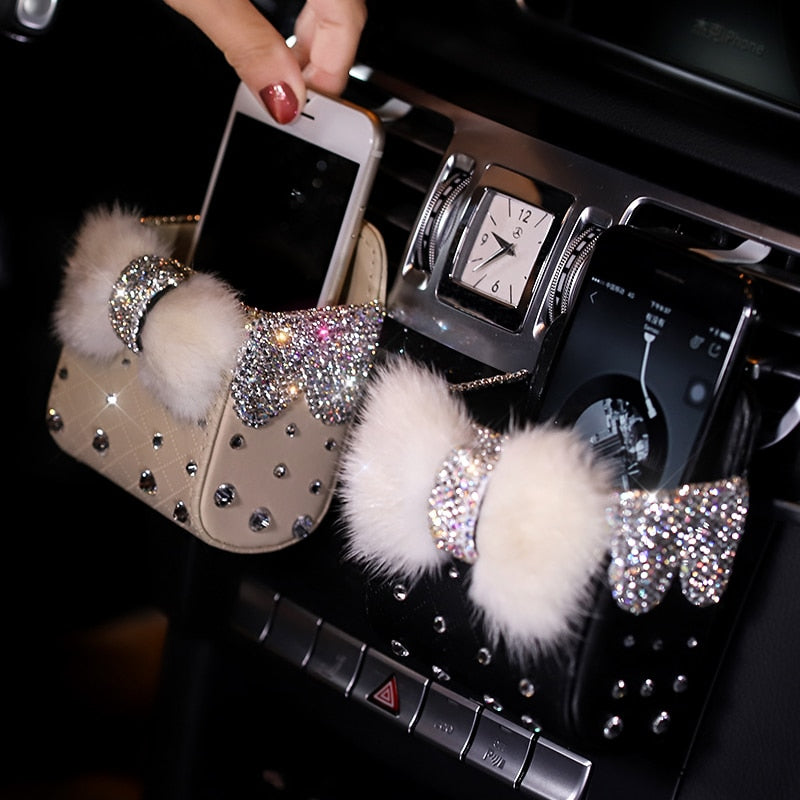 Diamond Crystal Bowknot Portable Car Storage Box Bag Mink fur Auto Vent Mount Holder Cosmetics Case Universal Mobile Phone Bag